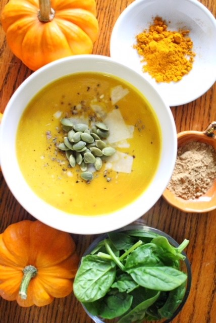 Pumpkin Turmeric Soup with Quinoa and Brown Rice