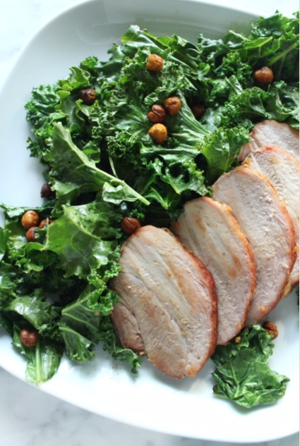 Pork Kale Chickpea Salad