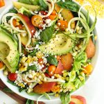 healthy summer zoodle peach salad