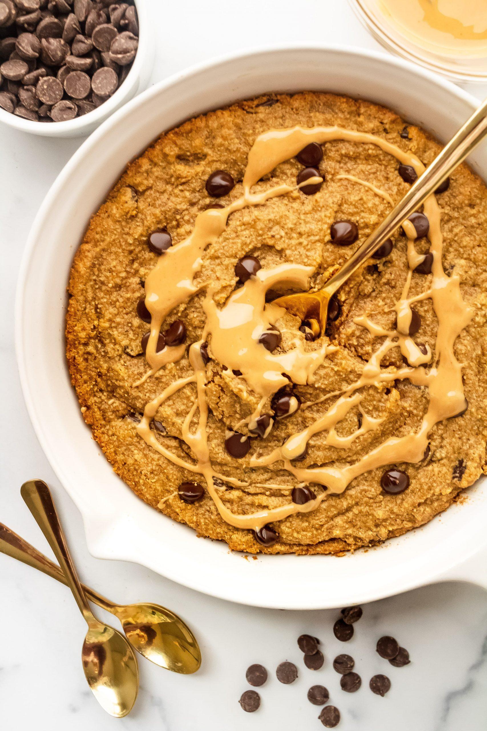 healthy pumpkin skillet cookie