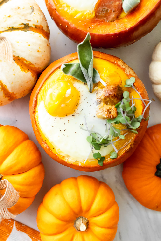 mini pumpkin egg bake