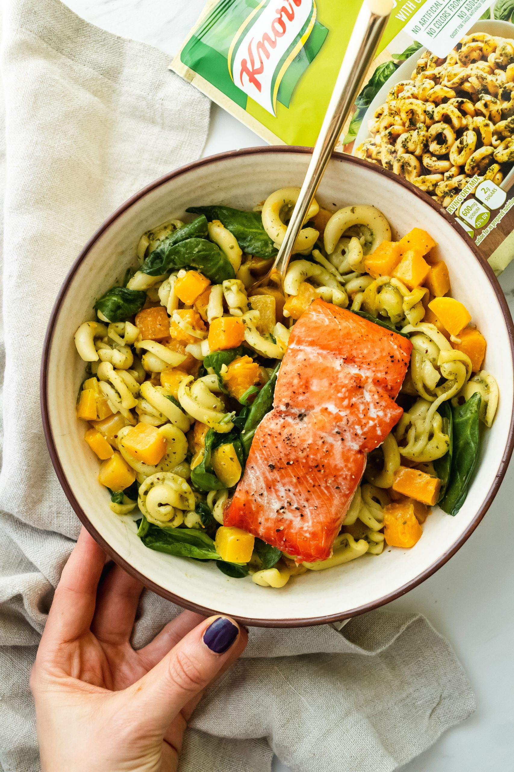 Roasted Garlic Pesto Pasta with Baked Salmon, Butternut Squash and Spinach