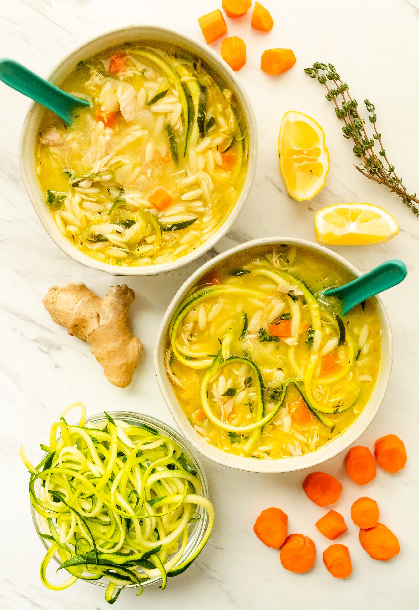 healthy chicken zoodle soup