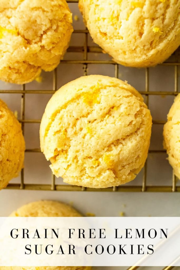 These lemon sugar cookies have a fresh tart taste and are made gluten and dairy free with not a lot of sugar! They're a little crispy around the edges and soft and chewy in the middle! #lemon #sugarcookies #cookies #glutenfree #dairyfree #grainfree #healthytreat #baking #onceuponapumpkin