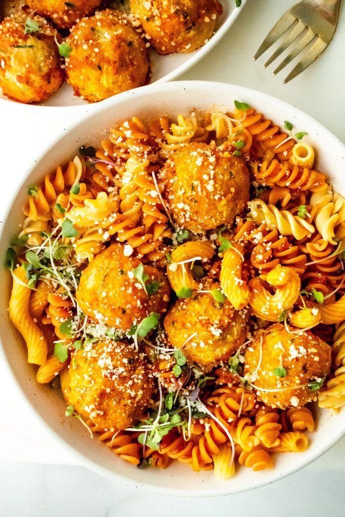 chicken zucchini meatballs with chickpea pasta