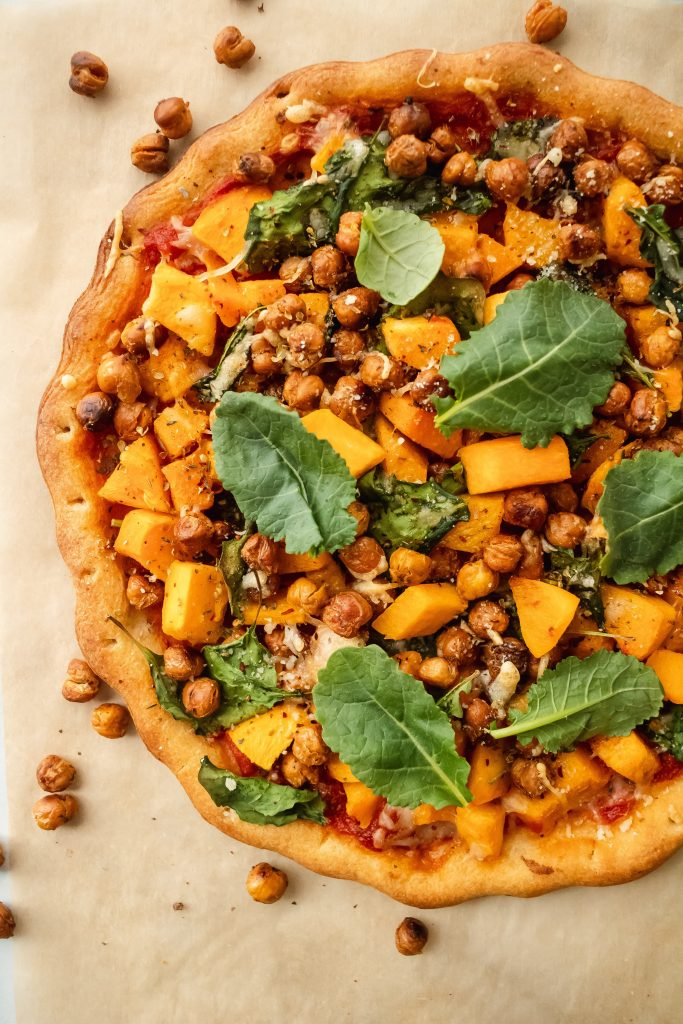 Butternut squash pizza with roasted chickpeas made gluten free with dairy free options and packed with plant based protein