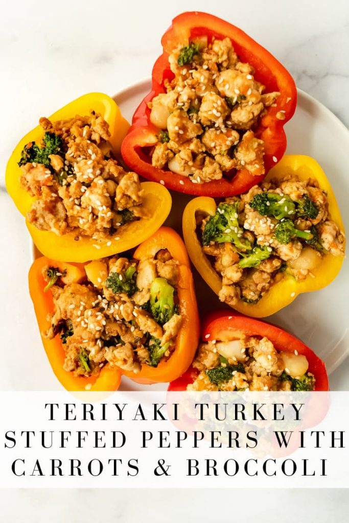teriyaki turkey stuffed peppers with carrots and broccoli