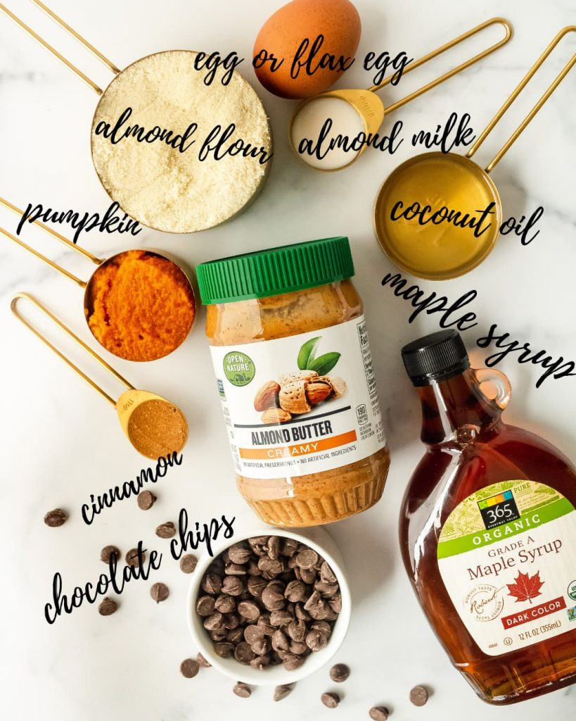 ingredients for healthy pumpkin skillet cookie