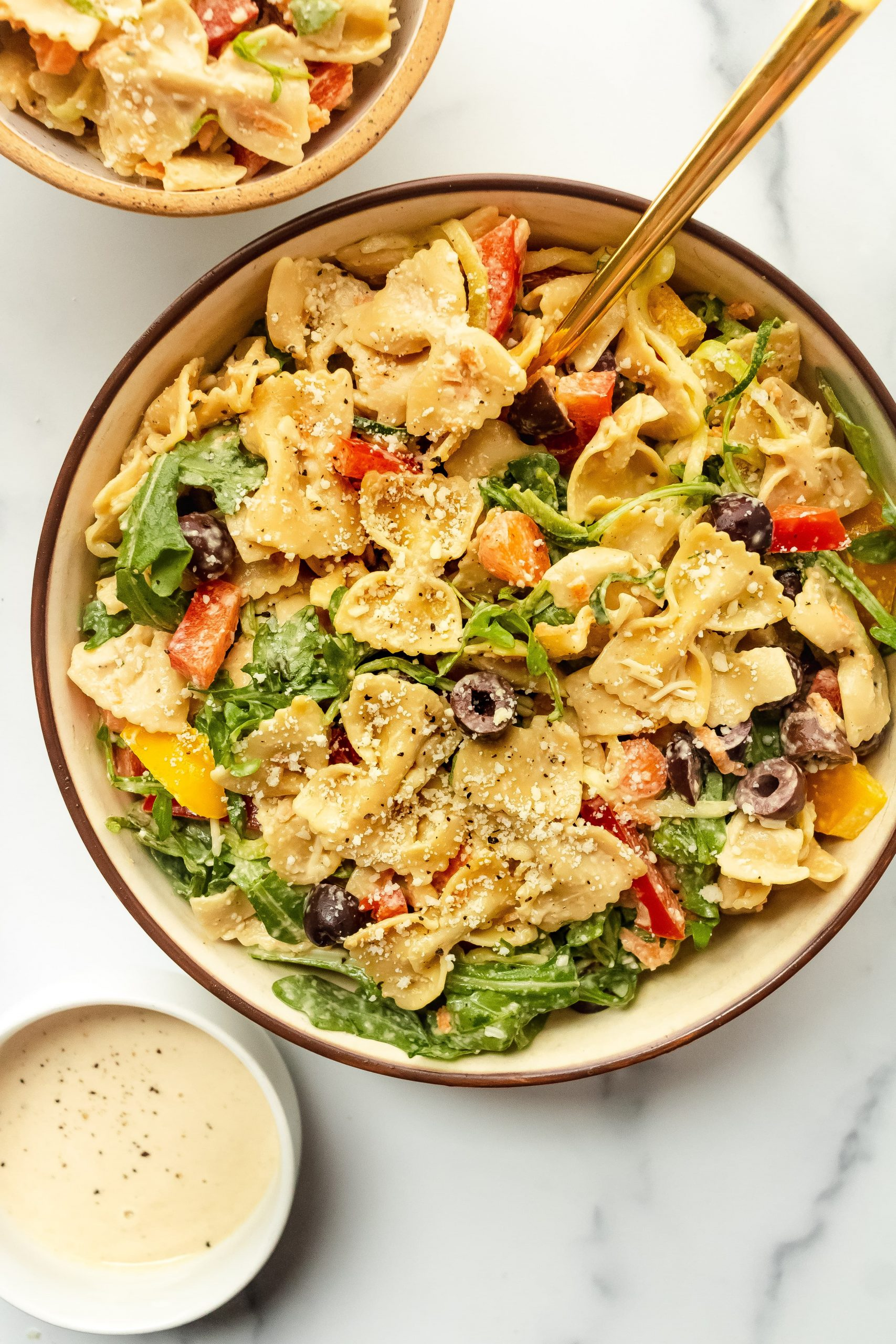 kitchen sink pasta salad with creamy tahini dressing