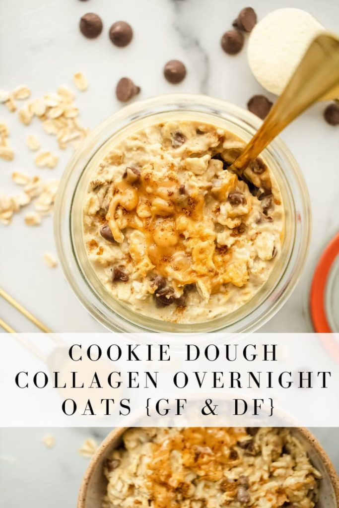 healthy cookie dough overnight night oats with collagen and mini chocolate chips