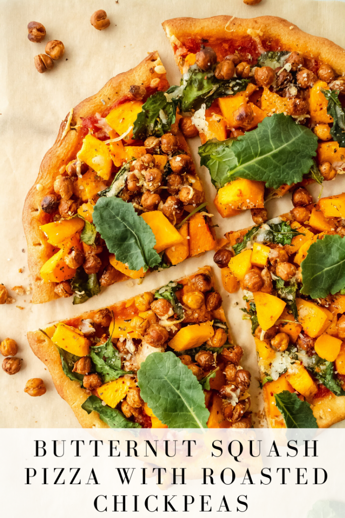 plant based veggie pizza with butternut squash, chickpeas and kale
