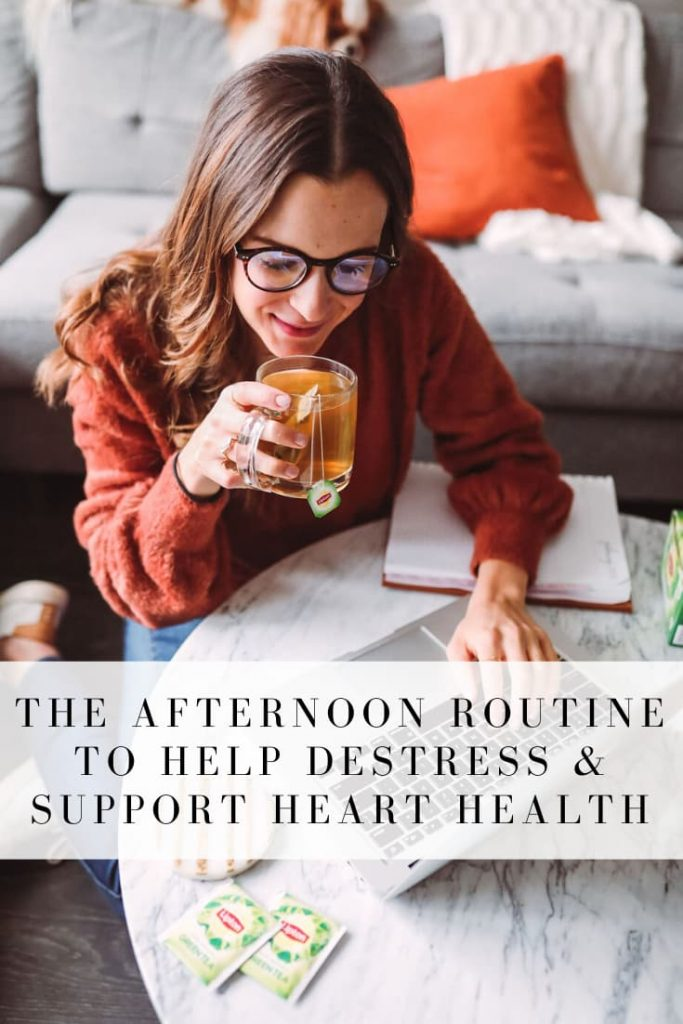 #AD Having a calming afternoon routine can help with afternoon productivity in a variety of ways. Read my tips for less stress in the afternoon and learn what benefits drinking green or black tea can have on heart health. #tea #afternoonroutine #hearthealth #greentea #blacktea #onceuponapumpkin