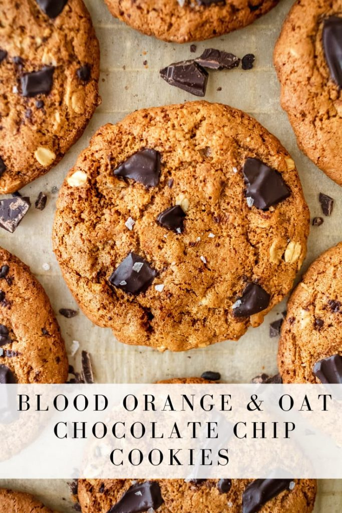 thin and crispy blood orange and oat chocolate chip cookies