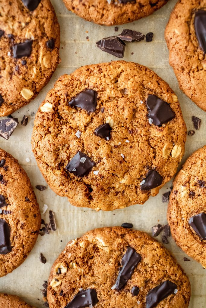 thin and crispy healthy chocolate chip cookies with oats and blood orange zest