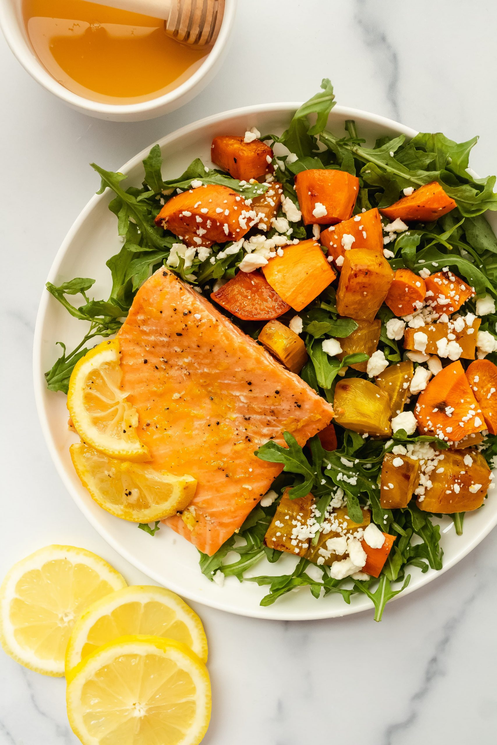 ginger citrus salmon with lemon, orange, and honey
