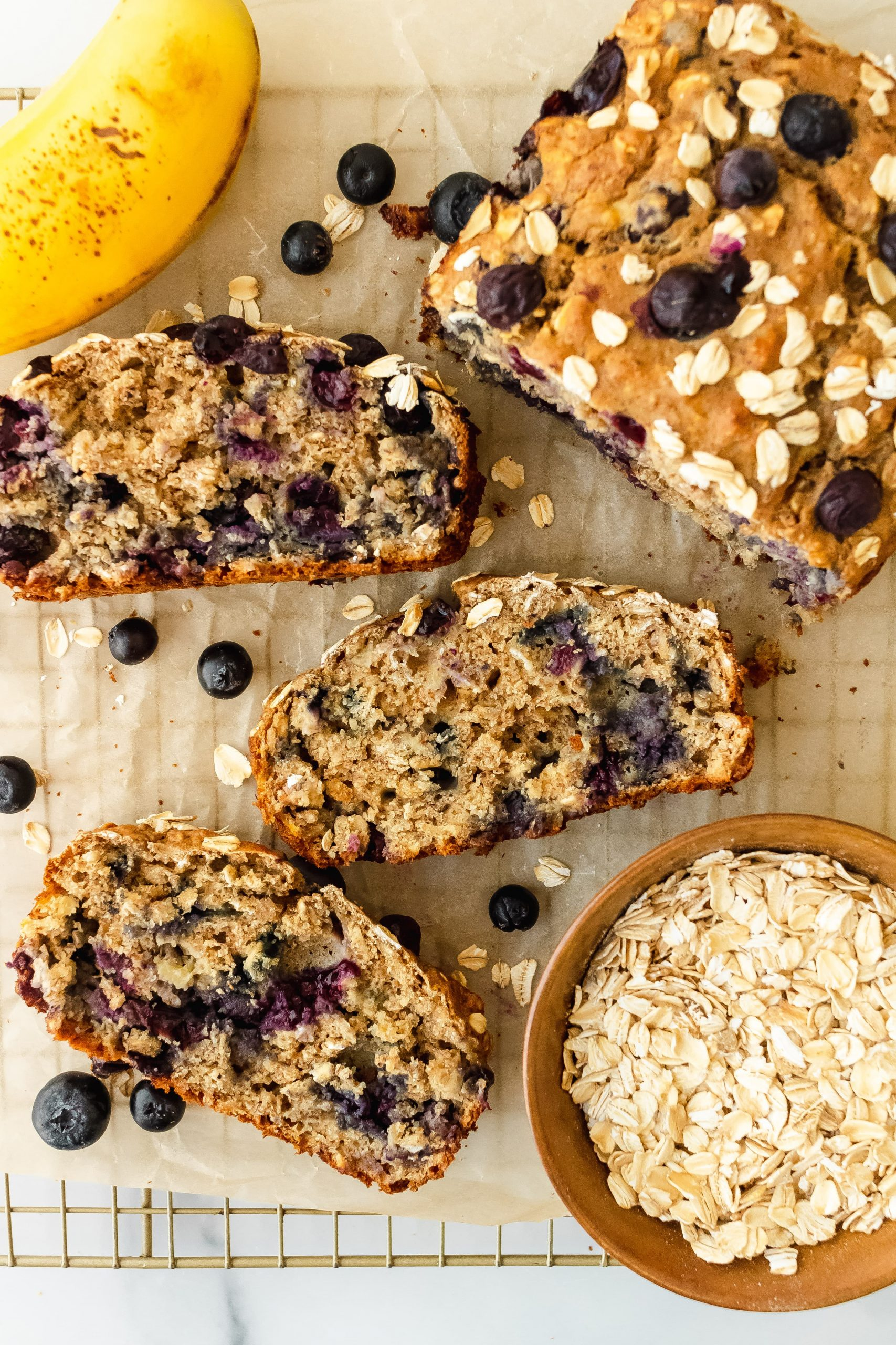 Honey Oat Blueberry Banana Bread
