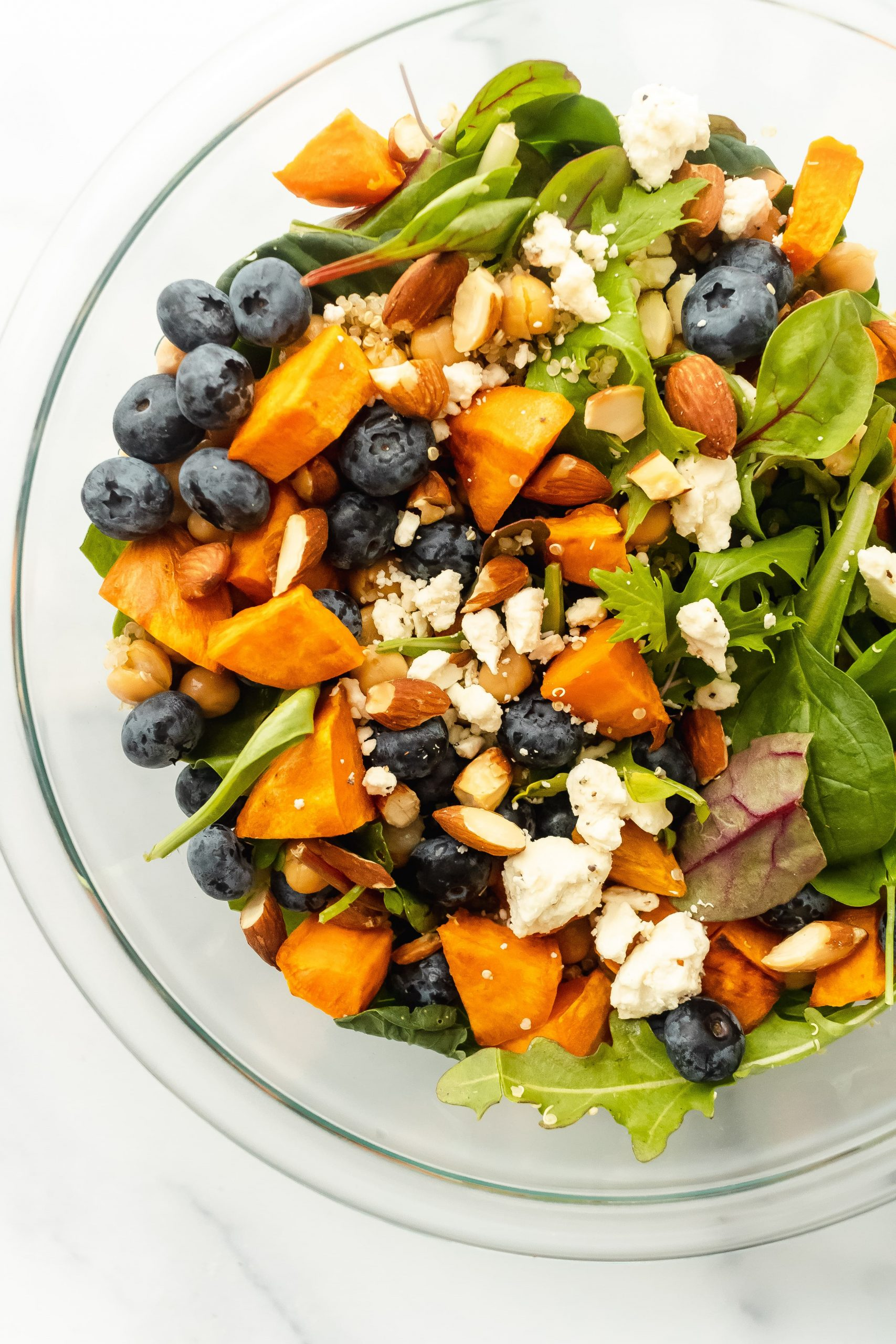 blueberry sweet potato greens and grains bowl