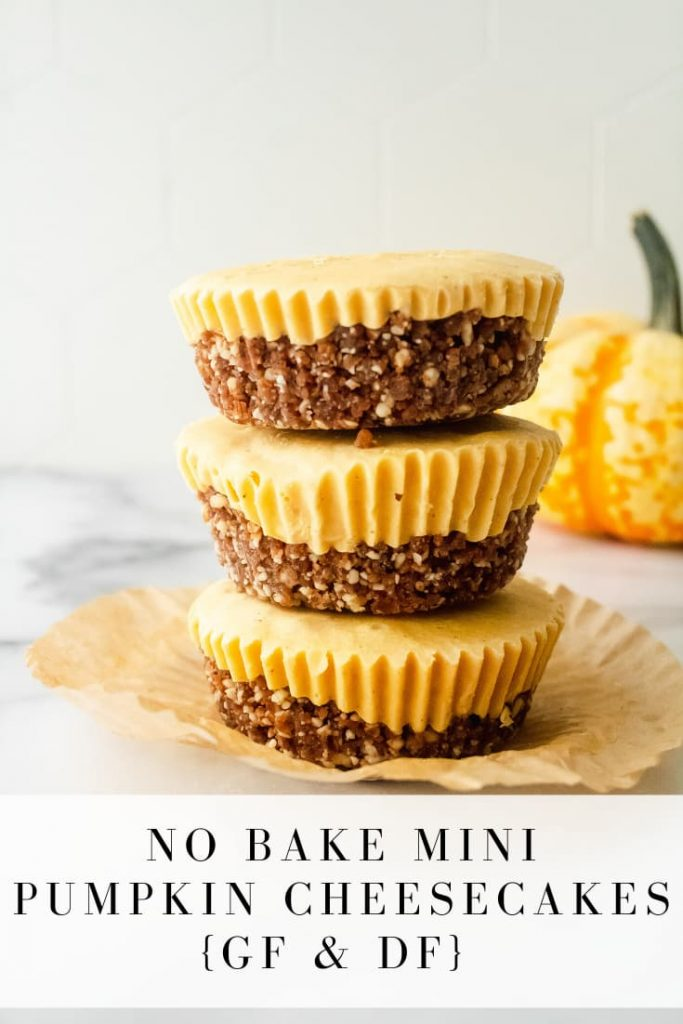 gluten and dairy free no bake mini pumpkin cheesecakes