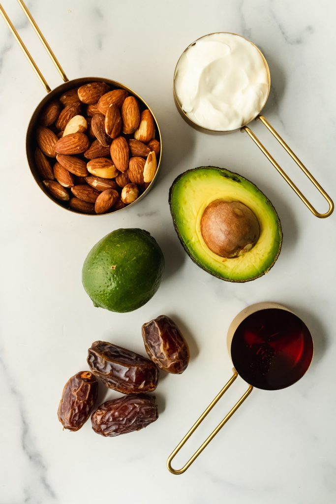 ingredients for avocado key lime parfaits