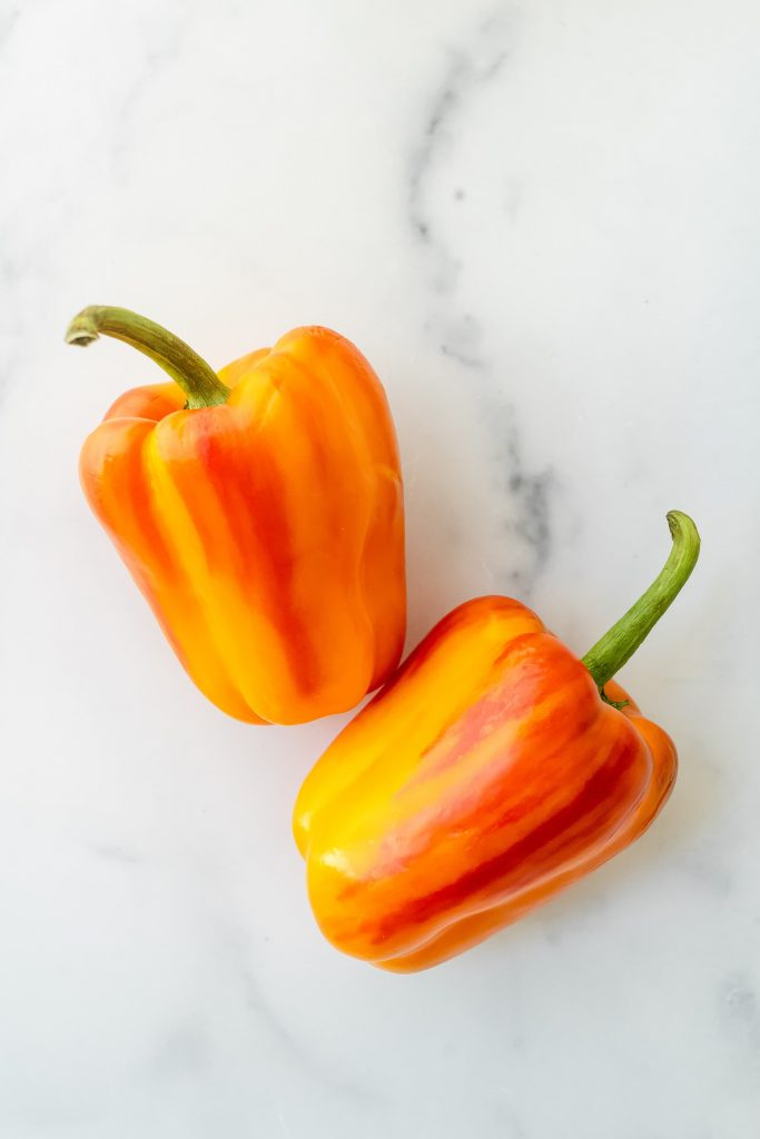 red and yellow striped peppers