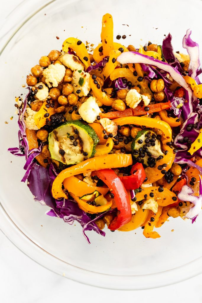 chickpeas, lentils and grilled veggies