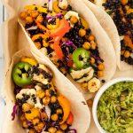 crunchy chickpea & black lentil grilled tacos