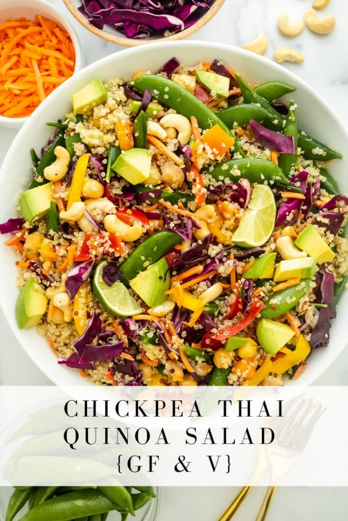 crunchy chickpea thai quinoa salad made gluten free and vegan