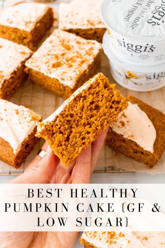 healthy pumpkin cake with pumpkin spice yogurt frosting
