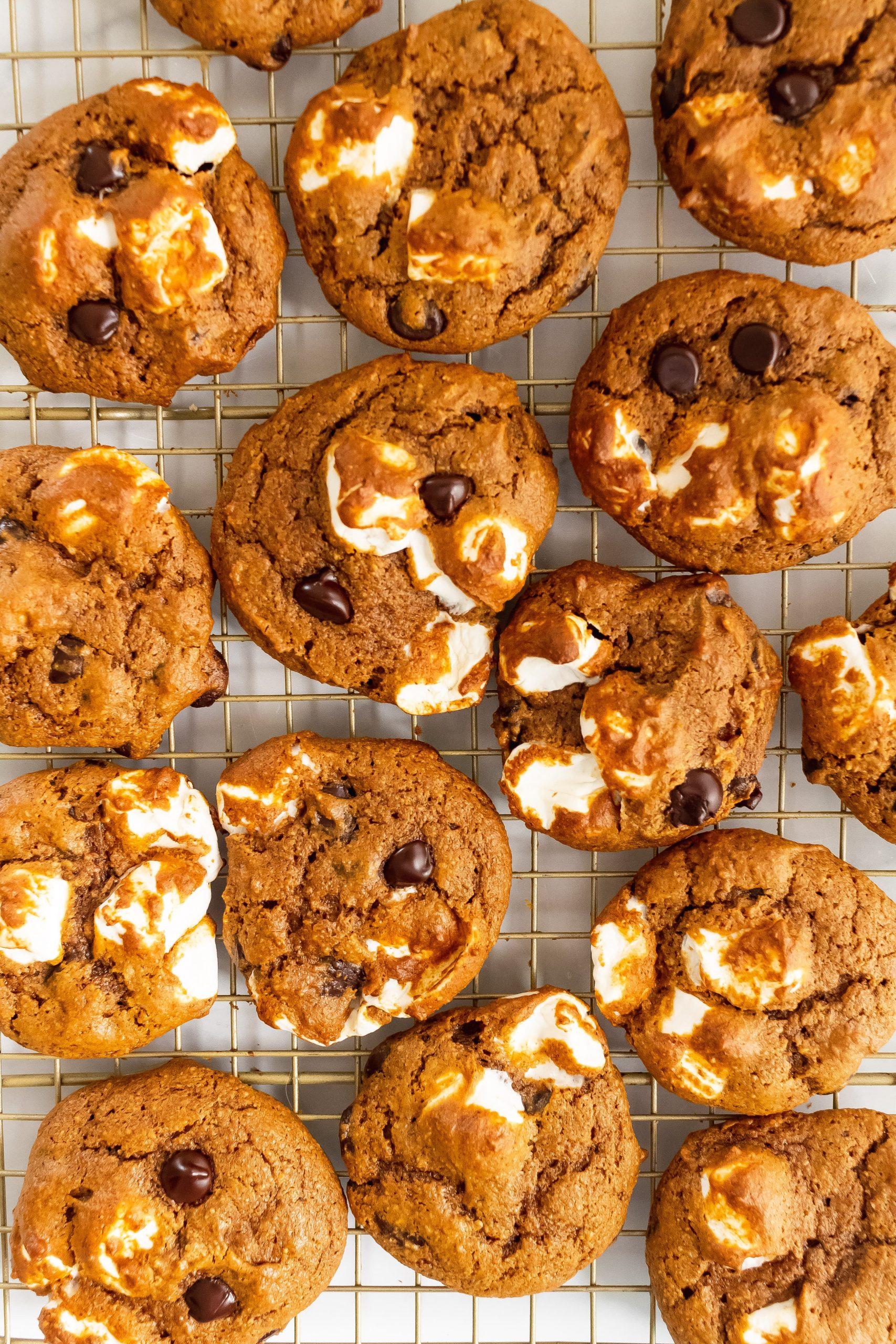 healthy pumpkin s'mores cookies