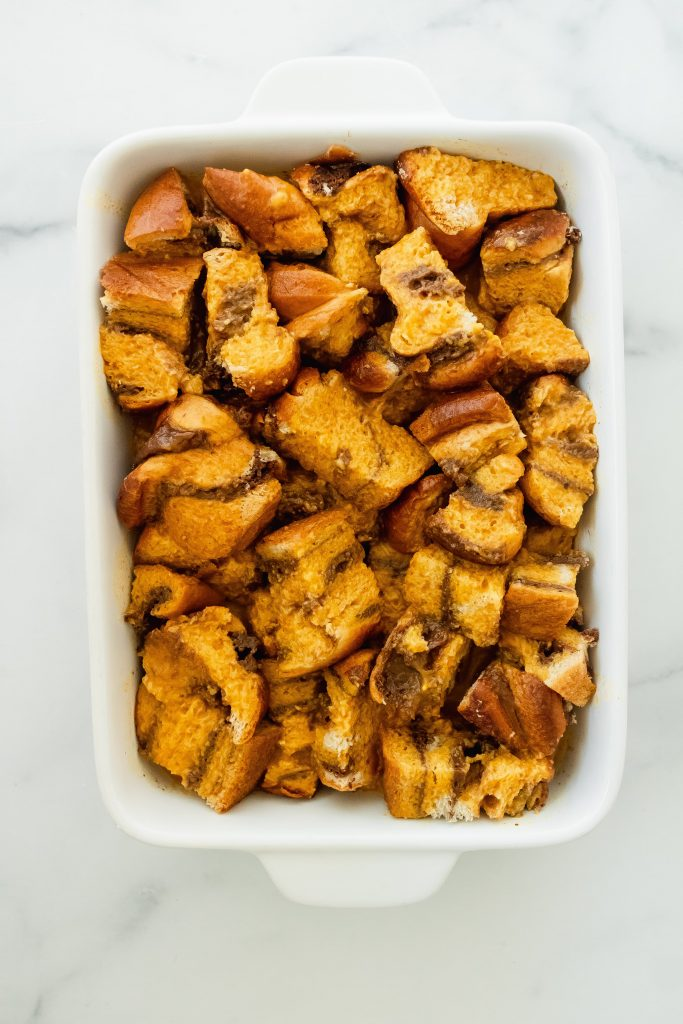 what pumpkin brioche french toast should look like before putting it in the oven