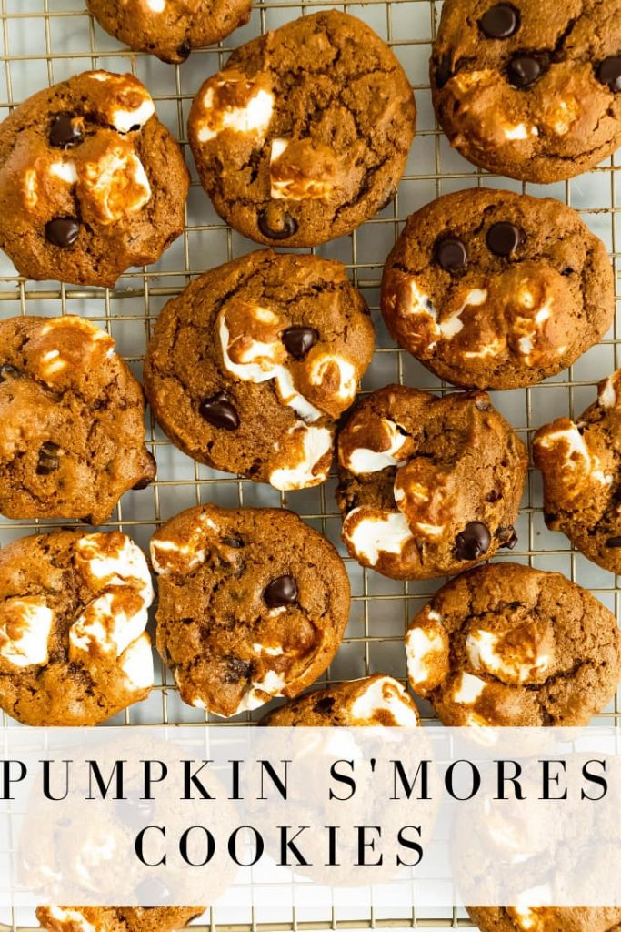 pumpkin cookies with marshmallows and chocolate chips