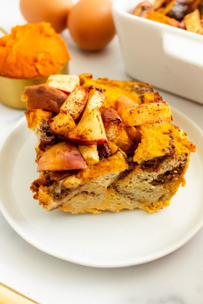 slice of pumpkin brioche french toast