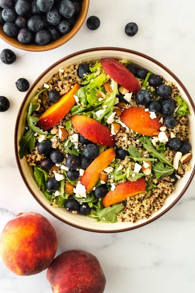 blueberry quinoa peach salad
