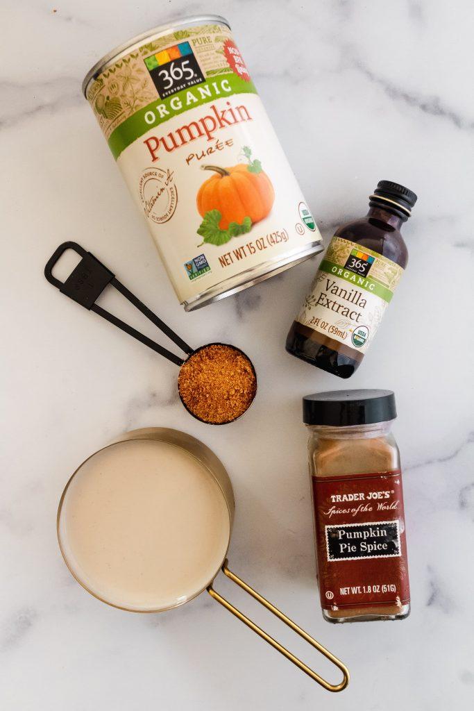 ingredients for pumpkin cream cold brew
