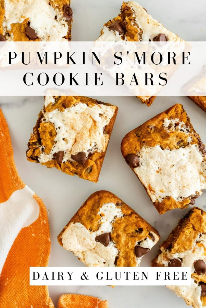 pumpkin cookie bars with chocolate chips and marshmallows