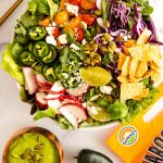 twisted taco salad with avocado jalapeno dressing