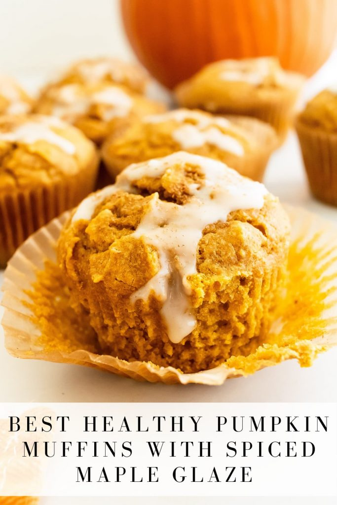 moist and fluffy pumpkin muffins with spiced maple glaze
