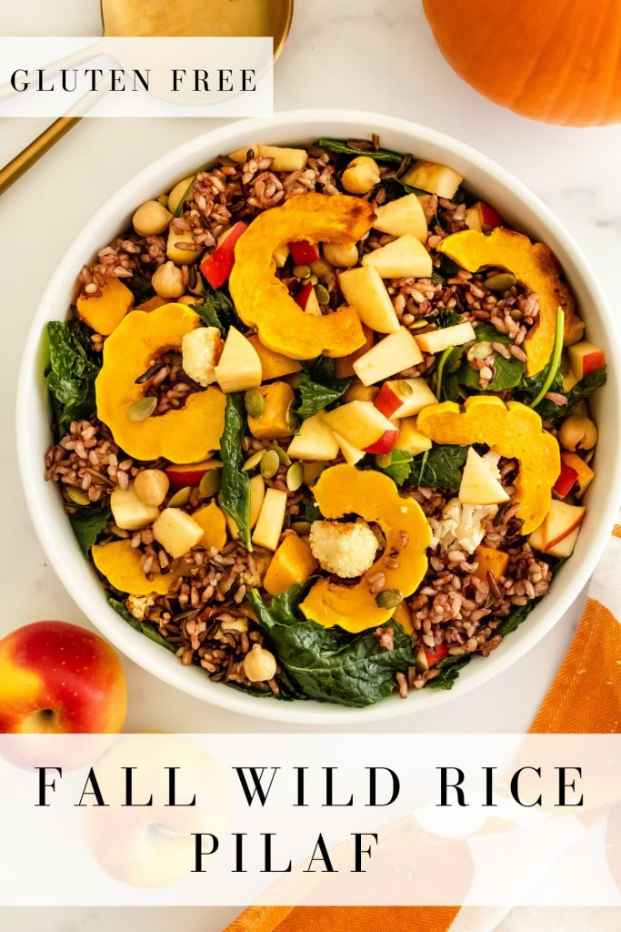wild rice pilaf with squash, kale, cauliflower, and pumpkin seeds