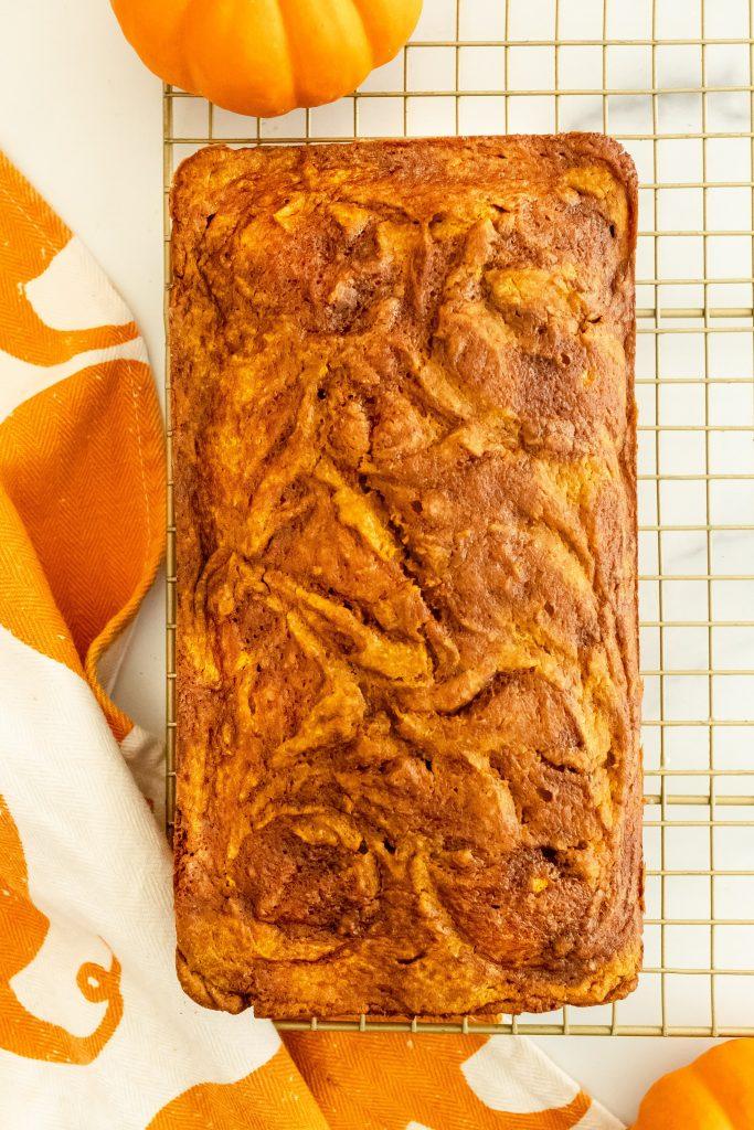 moist and fluffy pumpkin bread with a cinnamon swirl