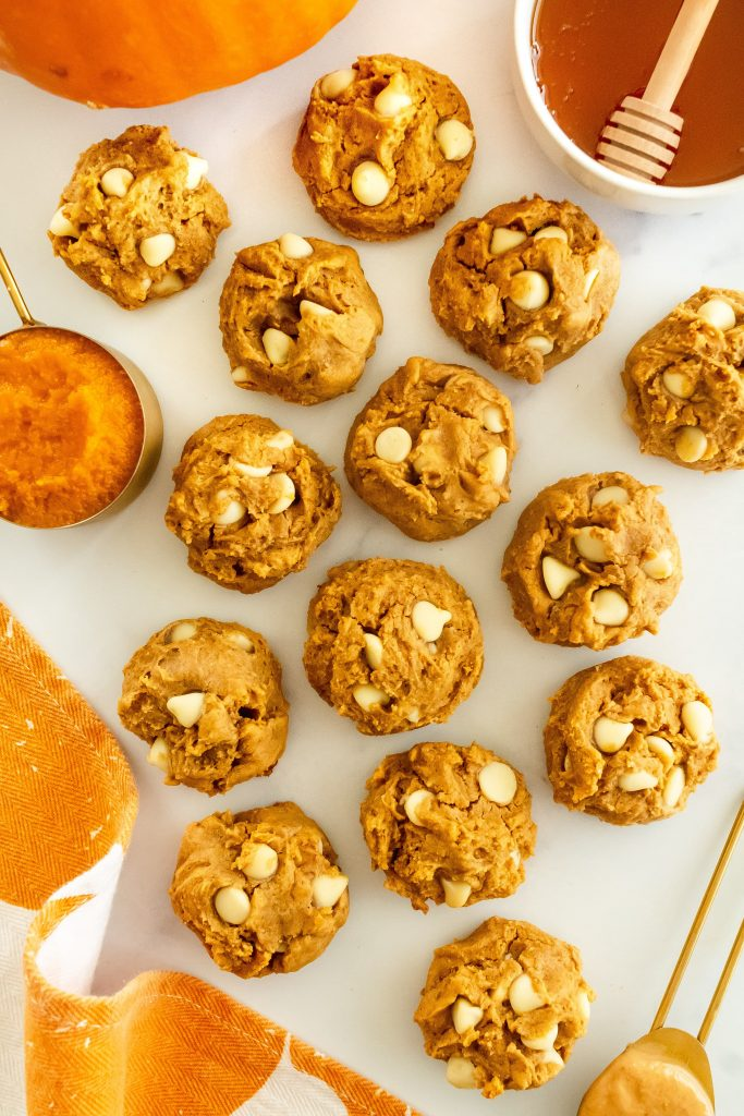 pumpkin cookies with cashew butter and white chocolate chips
