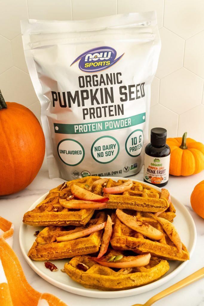 pumpkin protein waffles with pumpkin seed protein