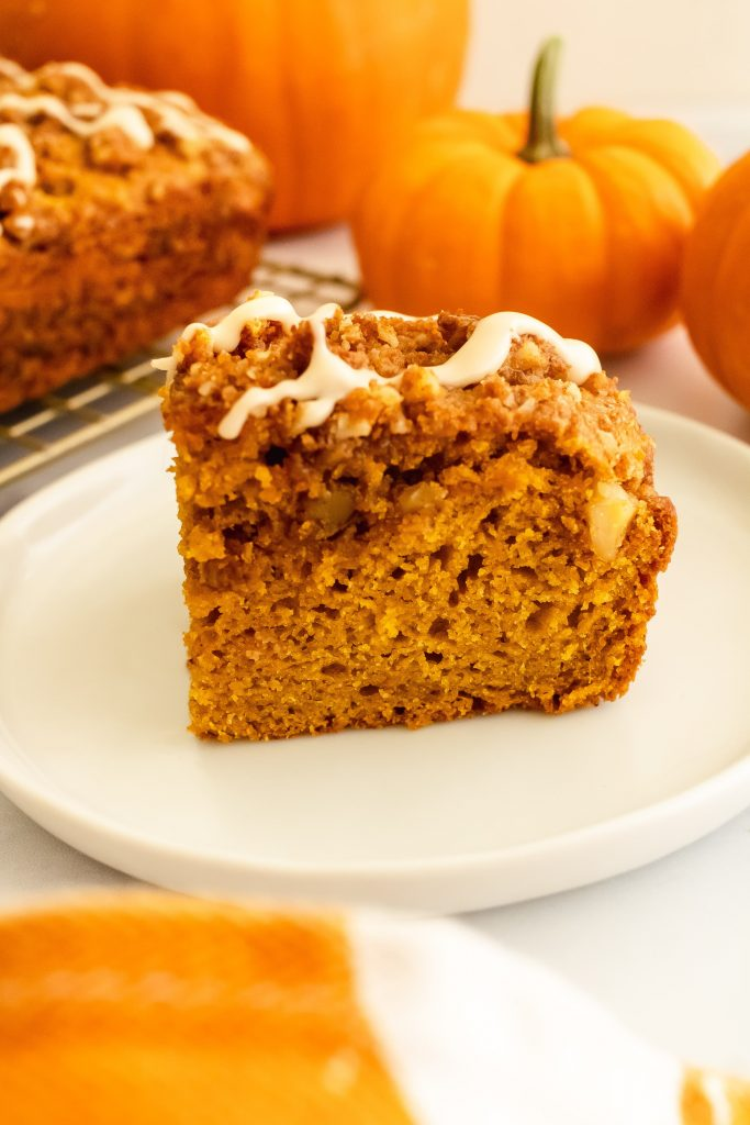 pumpkin spice coffee cake with walnut streusel topping