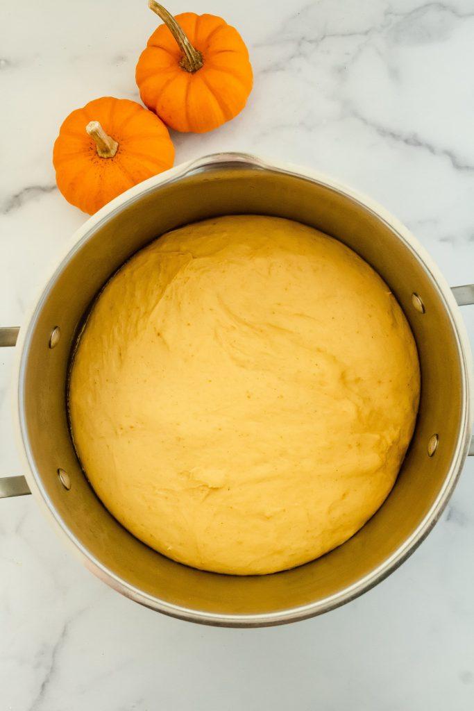 rising dough for pumpkin spice cinnamon rolls