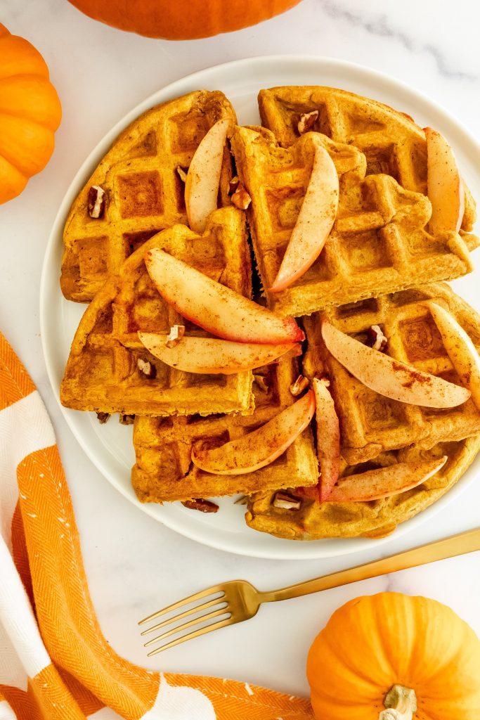 whole grain pumpkin protein waffles