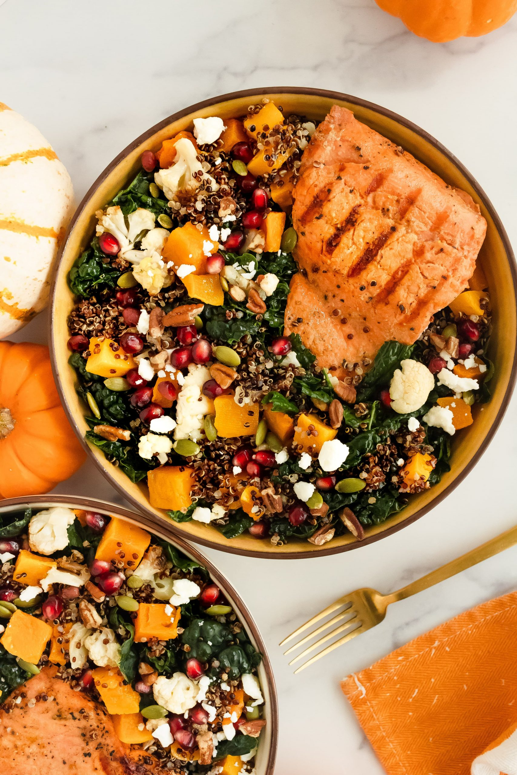 Autumn Salmon & Squash bowl with kale, butternut squash, apples, cauliflower, pomegranate seeds, pecans, pumpkin seeds, quinoa and feta cheese