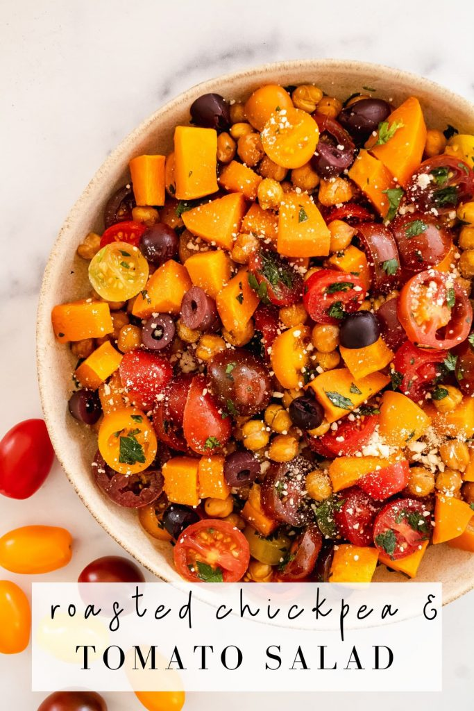 no lettuce salad with chickpeas, tomatoes, olives and butternut squash