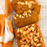 pumpkin apple bread with cinnamon apples and pumpkin seeds