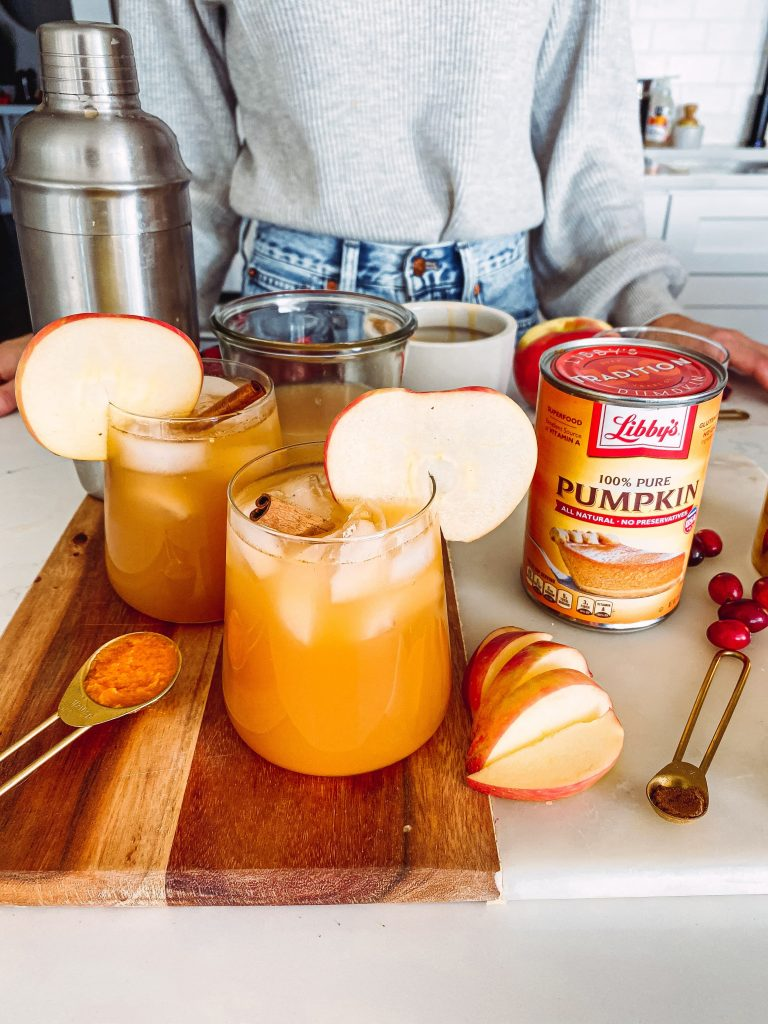 pumpkin cocktail with apple, spices and cinnamon