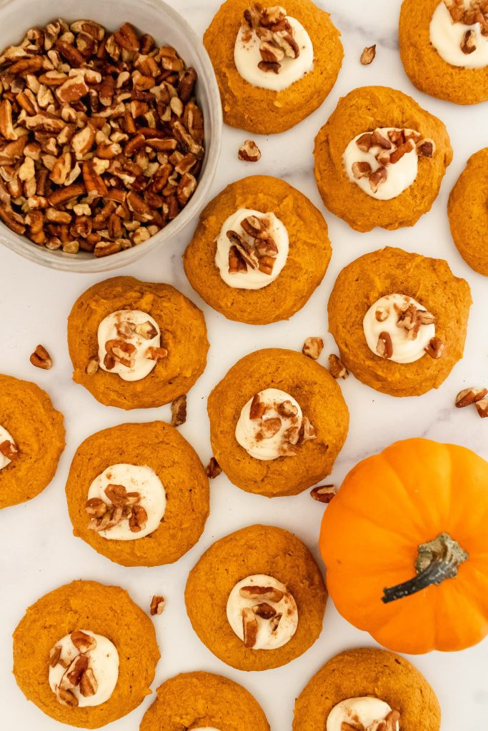 pumpkin cookies with dairy free cream cheese frosting