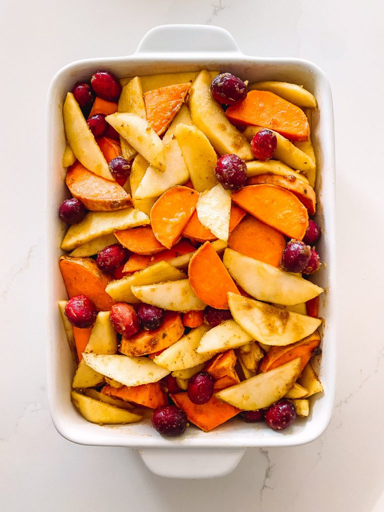 roasted sweet potatoes with apples, cranberries, brown sugar and butter